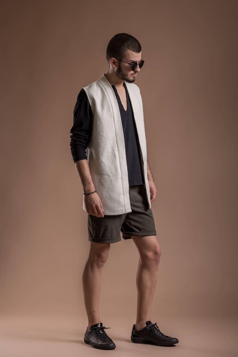 White kimono jacket  White kimono vest  Sleeveless kimono  Minimalist vest  Sleeveless kimono blazer  Avant-garde for men