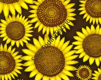 Sunflowers Tossed on Brown - Good Morning Sunshine Collection by Beth Logan - Henry Glass 9747-33 (sold by the 1/2 yard)