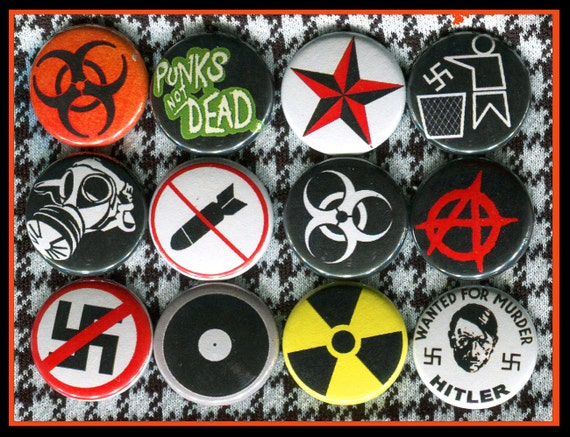 12 Anti Nazi Punk Rock Symbols 1 Inch Buttons Etsy