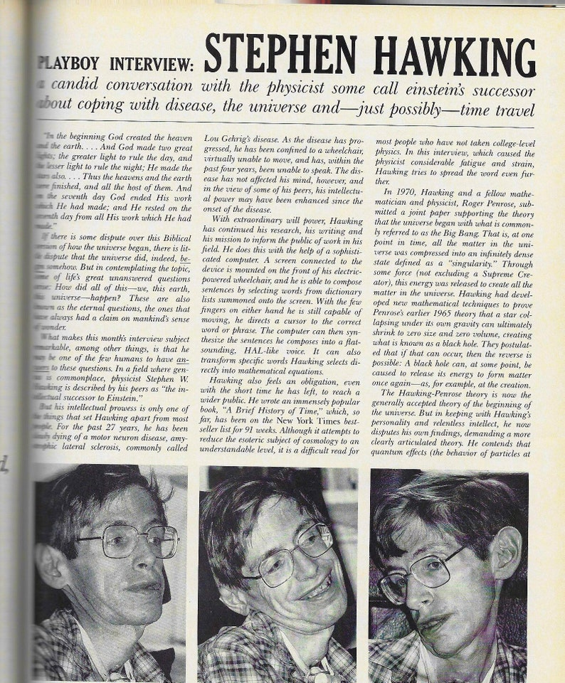 stephen hawking, playboy interview, playboy april 1990