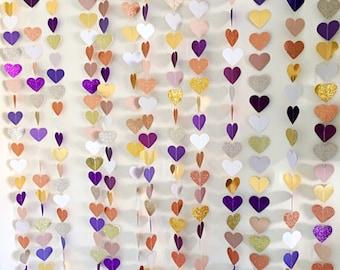 Paper glitter  hearts photo backdrop | wedding decoration | paper bunting | paper garlands | heart garlands | wedding decor |