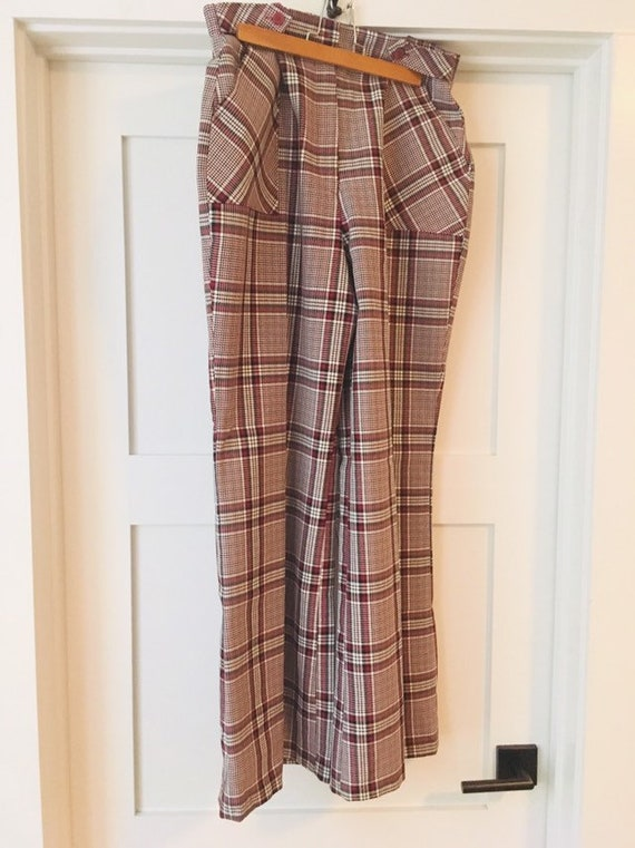 1970s disco plaid bell bottom flare pants size 16