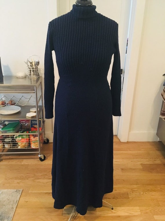 1970s knit maxi sweater dress