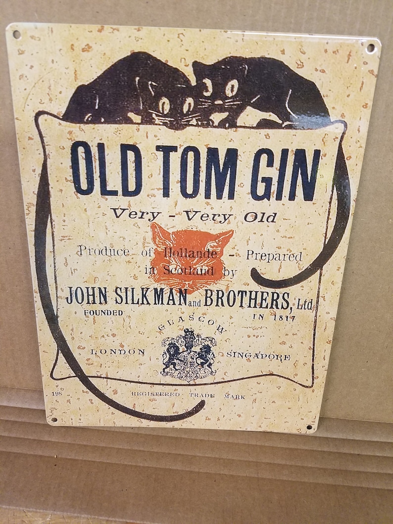 Vintage Old Tom Gin reproduction metal sign