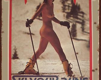 Vintage 'Ski Your Buns Off' Metal Sign Mountain Cabin Humorous Decor Reproduction