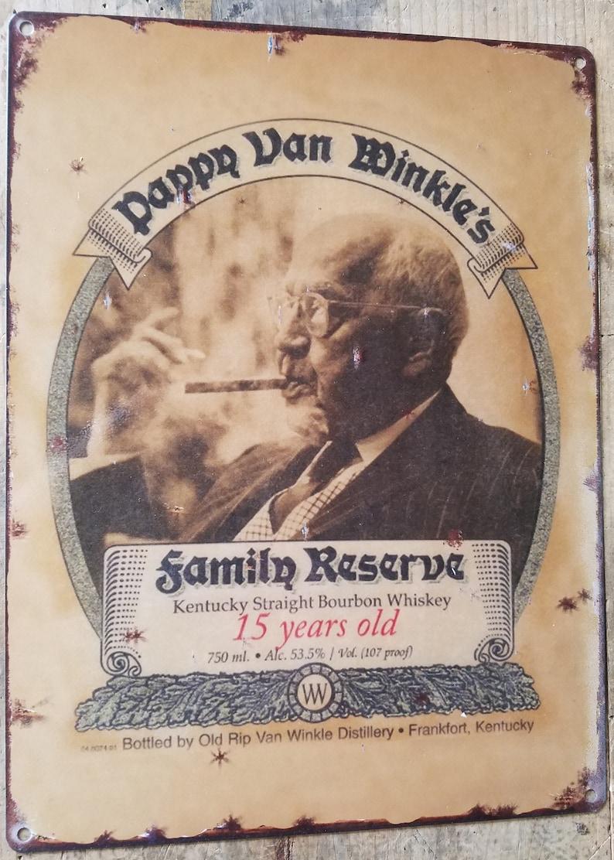 50 Year Old Whiskey >> Vintage Pappy Van Winkle bourbon label reproduction metal ...