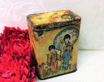 Kitchen Decor c 1910s Thin Flat Vintage Box Large Antique Eureka Toffee Candy Tin General Store Advertising Red Orange Cream