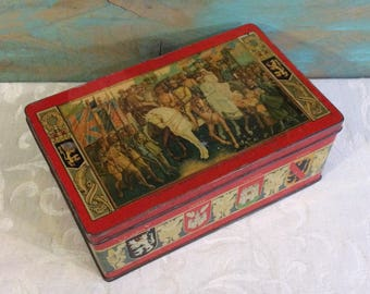 Rare Military Vintage Tin Box, Belgian Royalty, King Albert, World War I, Cote d'Or Chocolates, Antique Office Decor, Homecoming