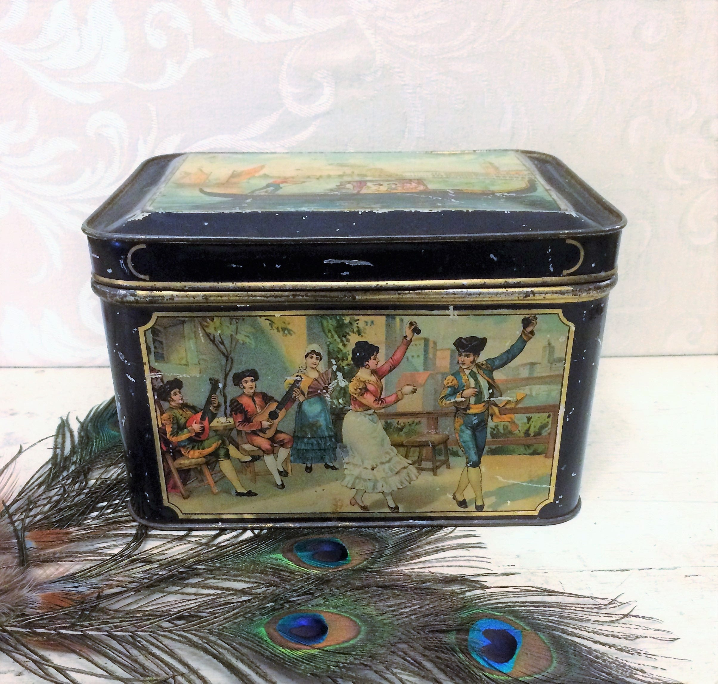 Large Antique Tin Box C 1910 Travel World Country Scenes