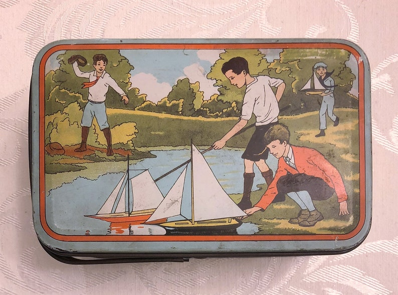 Boys Playing Campfire Sailboats Archery etc Children Sports Man Cave Decor c 1920s Blue Vintage Lunchbox Antique Lunch Box Style Tin