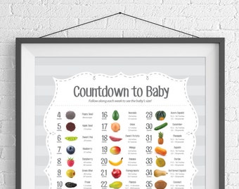 Pregnancy Announcement Countdown Poster | Expecting Parent Grandparent Gift | Food Size Comparison | Printed Poster or Digital Download