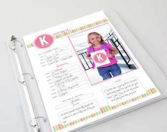 School Memories Keepsake Book | Personalized Scrapbook Pages | First Day of School | School Memory Pages Album | Printed Product or Digital