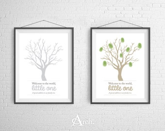 Family Tree Fingerprint 8x10 Poster Print