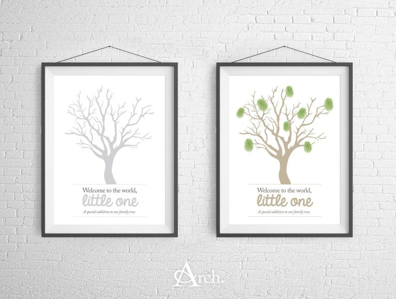Family Tree Fingerprint 8x10 Poster Print