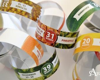 Pregnancy Announcement Countdown Paper Chain | Personalized Gift | Expecting Parent Grandparent | Food Size Comparison