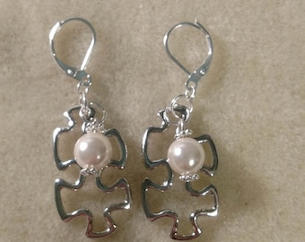 MADE TO ORDER!!! Silver Colored Puzzle Piece Autism Awareness Drop Pearl Earrings-- Made to Order with your pearls from the Pearl Party!!