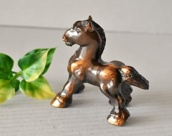 Vintage Hollow Cast Metal Small Clydesdale Work Horse Figurine, Unique Copper Bronze Horse Equestrian Decor Collectible