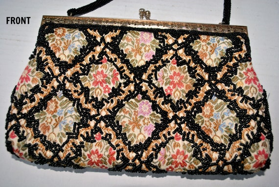 Vintage Beaded Tapestry Evening Bag, Colorful Tap… - image 4