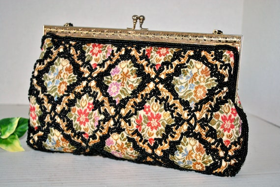 Vintage Beaded Tapestry Evening Bag, Colorful Tap… - image 10