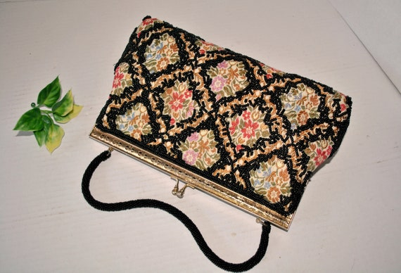 Vintage Beaded Tapestry Evening Bag, Colorful Tap… - image 3