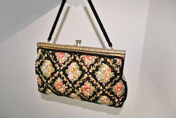Vintage Beaded Tapestry Evening Bag, Colorful Tap… - image 2