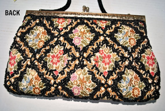 Vintage Beaded Tapestry Evening Bag, Colorful Tap… - image 5