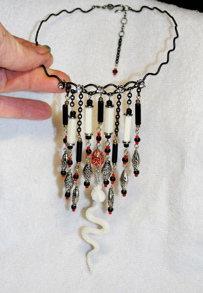 FREE SHIPPING OOAK Unique Carved Ivory Bone Snake Pendant Black Wavy Metal Necklace Artisan Made Goth Style Rattlesnake Dangle Bib Choker