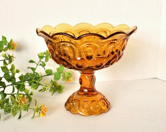 L.E. Smith Moon and Stars Amber Compote, Large Scalloped Amber Pressed Glass Pedestal Bowl Candy Dish