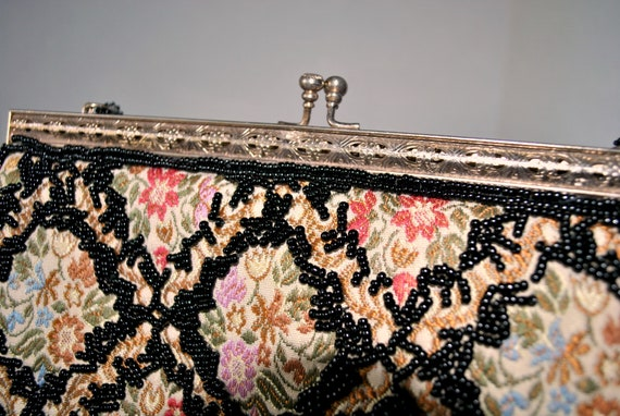 Vintage Beaded Tapestry Evening Bag, Colorful Tap… - image 6