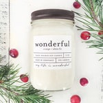 12 oz WONDERFUL (orange + white fir) hand poured soy wax jar candle