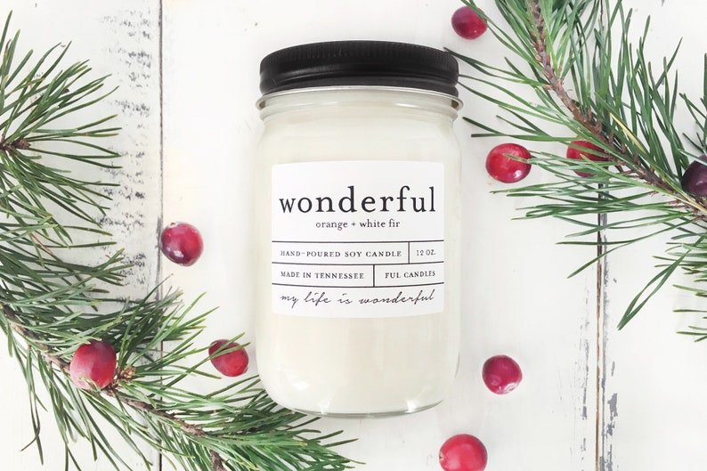12 oz WONDERFUL orange  white fir hand poured soy wax jar image 0