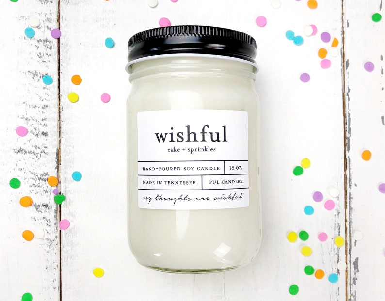 12 oz WISHFUL cake  sprinkles hand poured soy wax jar image 0