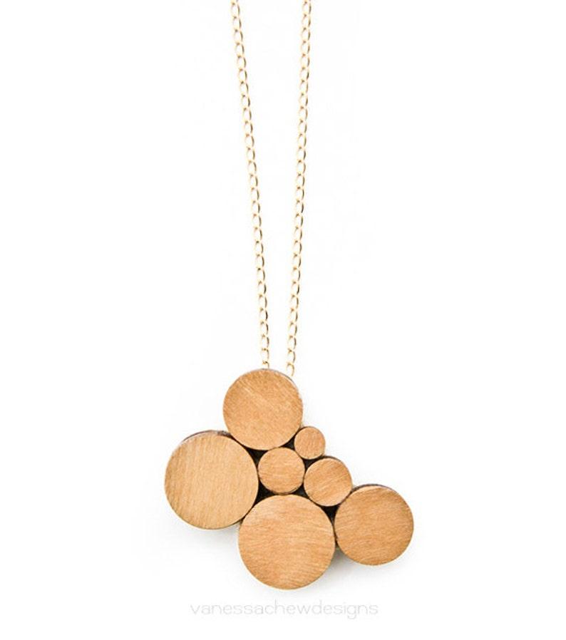 wooden circles pendant necklace image 0