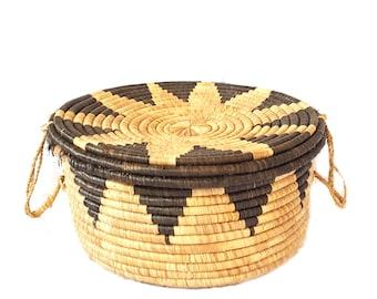"""Huge 20"""" Geometric Coiled Basket With Lid ~ Vintage Native American Lidded Basket ~ Boho Basket / Tribal Decor / Hopi Coiled Basket"""