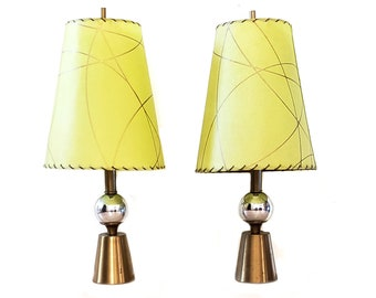 mid century lamp. Mid Century Geometric Lamp ~ A Pair Lime Green/ Gold Fiberglass Shades/ Cone And Sphere/ Chrome Brass -
