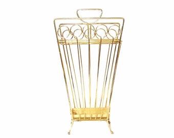 Mid Century Umbrella Stand ~ Vintage Gold Metal Umbrella Holder