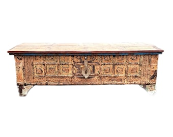 Reclaimed Wood Indian Trunk/ Chest / Table ~ Vintage Painted/ Carved/  Distressed/ Patina Wood/ Metal Trunk