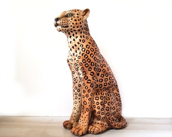 24fd677bd8f Vintage Life Size Ceramic Cheetah Statue   X Large Hollywood Regency  Ceramic Cat
