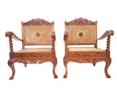 Vintage Pair Carved Teak Cane Armchair Anglo-Indian Plantation Lounge Arm Chairs British Colonial Rattan Boho Chairs