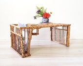 Large Vintage Bamboo Bed Tray with Side Magazine Newspaper And Glass Holder