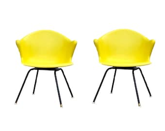 Mid Century Fiberglass Chair ~ Vintage Pair Yellow Arm Bucket Molded Swivel  Chairs By Cole ~ Eames Era Herman Miller Style Chair