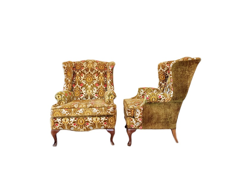 Vintage Pair Wingback Chairs / Arm Chairs ~ Floral Tapestry Fireside Chairs  / Sculpted Cut Velvet Chenille Easy Chairs By H.M. Co Boho Decor