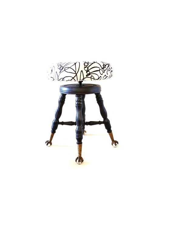 Awesome Antique Piano Stool Claw And Ball Glass Feet Modern Re Upholstered Vanity Stool Black White Gold Decor Caraccident5 Cool Chair Designs And Ideas Caraccident5Info