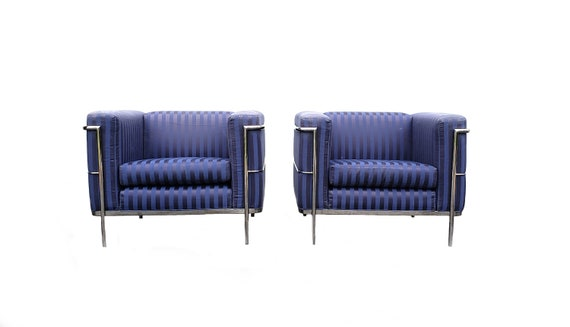 Pair Of Lounge Chairs By Jack Cartwright In Chrome And Navy Satin Pinstripe Upholstery Le Corbusier Style Chairs