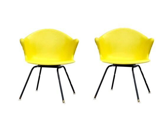 Mid Century Fiberglass Chair Vintage Pair Yellow Arm Bucket | Etsy