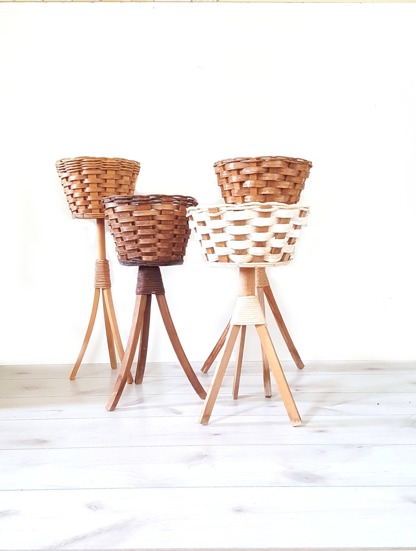 set of four plant stand wooden rattan tripod planter wicker. Black Bedroom Furniture Sets. Home Design Ideas
