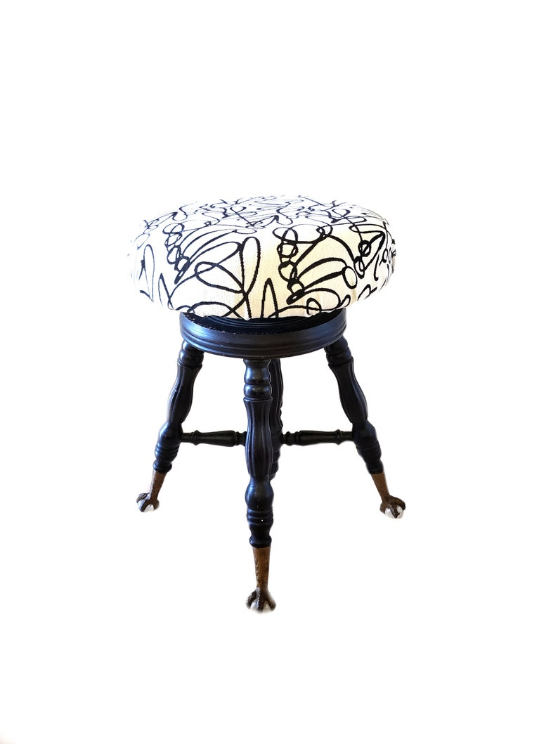 Super Antique Piano Stool Claw And Ball Glass Feet Modern Re Upholstered Vanity Stool Black White Gold Decor Alphanode Cool Chair Designs And Ideas Alphanodeonline