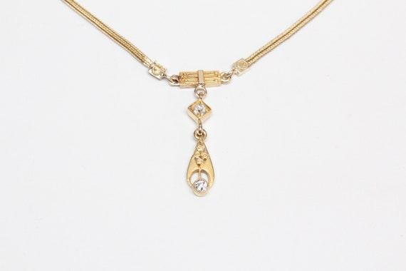 Antique Victorian 10k Gold, Diamond Drop Necklace