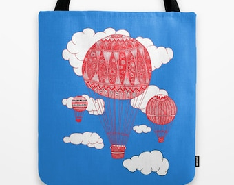 Ornate Hot Air Balloon Tote Bag / Hot AIr Balloons Tote / Sky Tote Bag / Double Sided Tote - Beach Bag, Yoga Bag, Reusable Grocery Tote