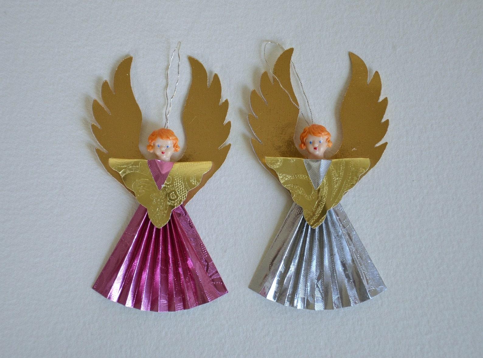 Foil Angel/ Christmas Ornament/ Vintage Style/ Set Of 2
